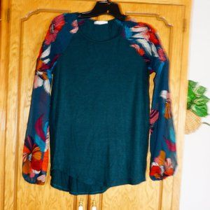 Maurices Long Sleeve Top with Sheer Sleeves